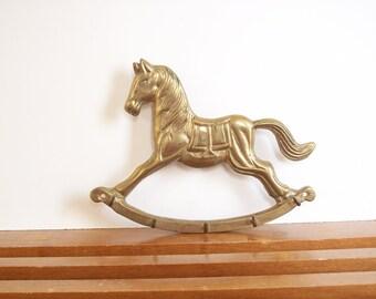 Brass Rocking Horse Key Hook, Key Holder, Vintage Brass