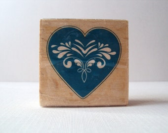 Elegant Heart Wooden Mounted Rubber Stamping Block DIY cards, scrapbooking, tags, Invitations, and Greeting Cards