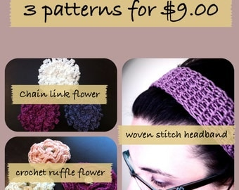 INSTANT DOWNLOAD 3 pattern pack (headband and 2 flowers)