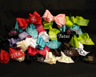 Monogrammed Hairbows BUY 3 and Get a FOURTH one FREE
