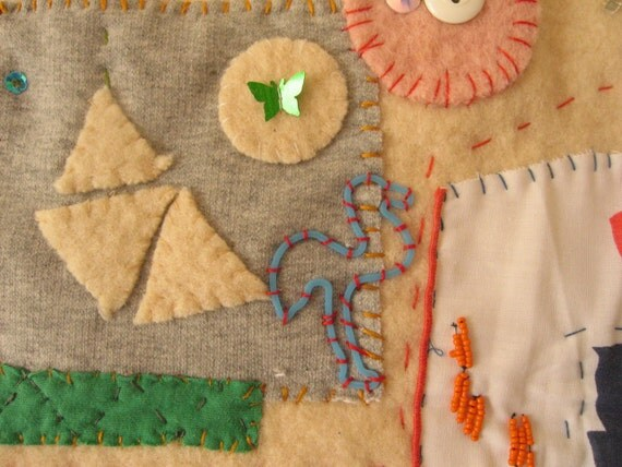 Textile Wall Hanging made from vintage blanket and fabrics, hand embroidery, applique . Gift