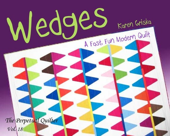 "Wedges Quilt Pattern, Modern Quilt Pattern, Improv, Abstract, 59"" x 64,"" PDF Pattern, qtm"