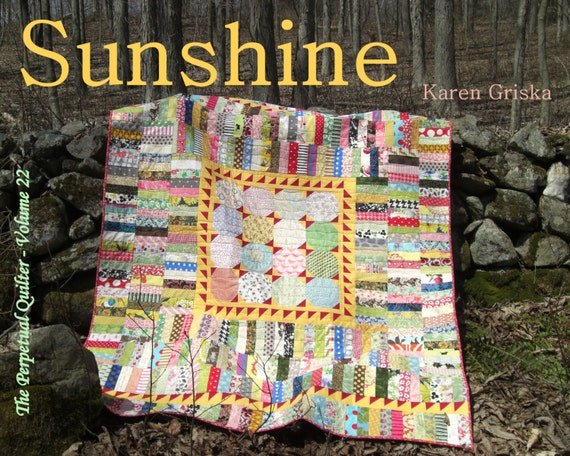 "Sunshine Quilt Pattern, Easy Quilt Pattern, Scrap Quilt, String Quilt, Stash Buster, Twin Bed Quilt,  60"" x 76,"" PDF Pattern, qtm"