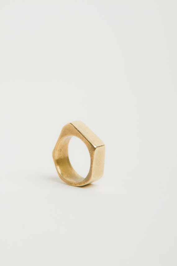 Geometric Ring- Asymmetrical Brass Ring- White Bronze Ring-  Hand Carved- Polygon Silver Gold Color