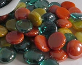 Teal, Orange, and Yellow Collection of Gems, Nuggets, Flat Backed  Mosaic Tiles/Glass/Cabochons 50 ct.