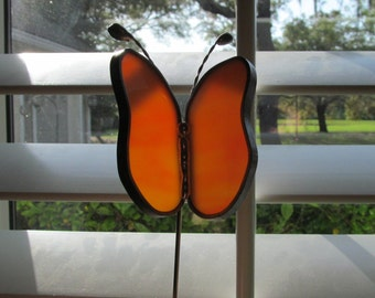 Stained Glass Orange and White Swirled Opalescent Butterfly Garden Plant Stake