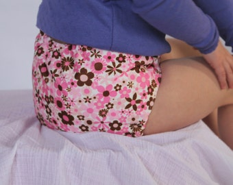 One Size Cloth Diaper Cover made from PUL pink/brown flowers fabric for girl 8 lbs to 40 lbs - in stock