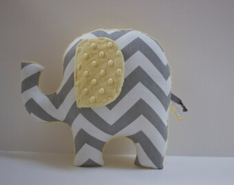 Yellow gray modern nursery decor, chevron elephant pillow, baby shower, handmade gift, gender neutral