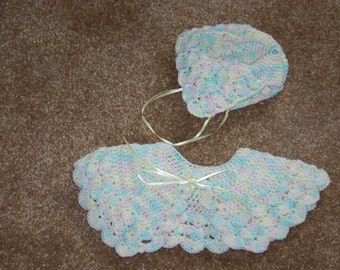 Baby Girl's Crocheted Cape and Hat -- FREE SHIPPING