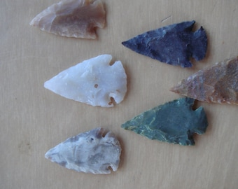 10 Arrowheads: 6 Colorful Handknapped Agate Arrowheads Plus 4 Slate Great For Wirewrapping and Jewelry