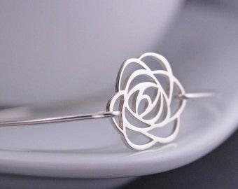 Rose Bracelet, Sterling Silver Rose Bangle Bracelet, Bridesmaid Bracelet, Flower Bracelet