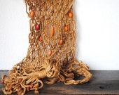 BOHO Macrame Hanging Plant Hanger, Vintage Decor Driftwood Top Large Teak Wood Beads