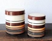 Laurids Lonborg Metal Canister Set, Danish Modern Kitchen Storage Tins, Retro Stripe Copenhagen Made in Denmark