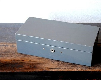 Industrial Metal Cash Box, Steel Master Grey File Storage Organizer, 1970s Vintage Office Decor