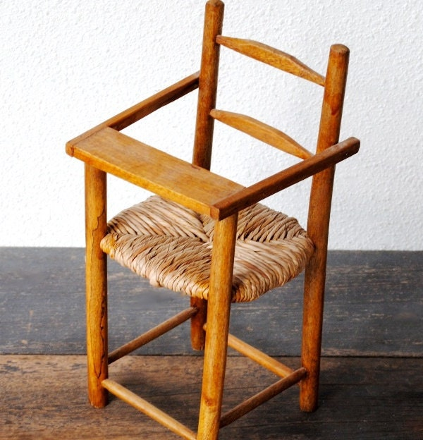 Vintage Wooden Doll High Chair Wicker Wood Seat Highchair