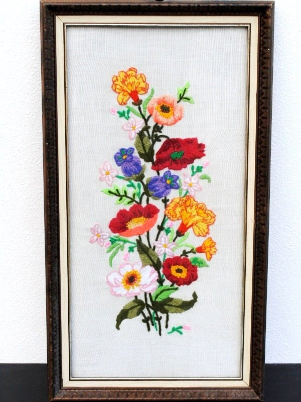 Vintage linen crewel embroidery framed needlepoint flowers
