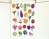 Nursery French ABC 13x19 art print poster alphabet fruit vegetable herbs children's room Food plant garden botanical typographic