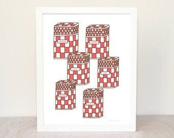 Kitchen Art French Vintage Enamel Canisters Dark Red 8x10 Art Print French Country Kitchen Geometric Pattern Mother's day