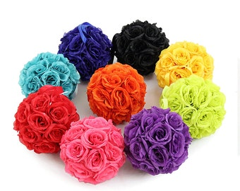 """9"""" Silk Rose Kissing Flower Balls Pomanders for Wedding Centerpieces Decor and Party Decorations"""