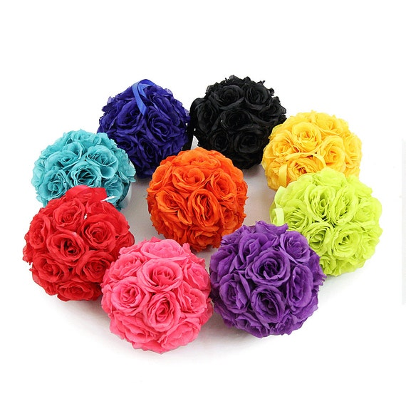 Silk rose kissing flower balls pomanders for wedding