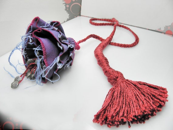 flower fiber red violet magenta rope necklace contemporary tribal jewelry art