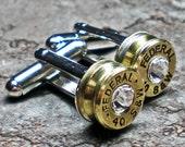 40 Smith & Wesson Federal Brass Bullet Head Cufflinks Your Choice of Birthstone Swarovski Crystal FREE SHIPPING