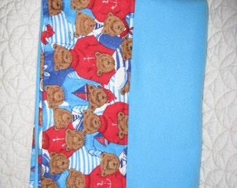 Blue Flannel Pillow Case with Teddy Bears