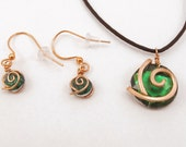 Kokiri Forest Emerald Necklace and Earrings Set, Flat Back Kokiri