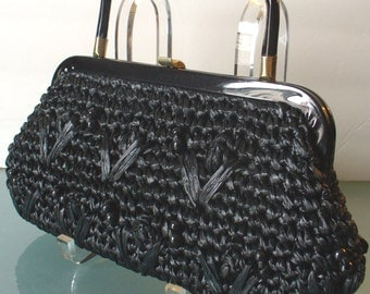 Vintage Black Raffia Clutch With Wooden Bead Accents & Optional Handle