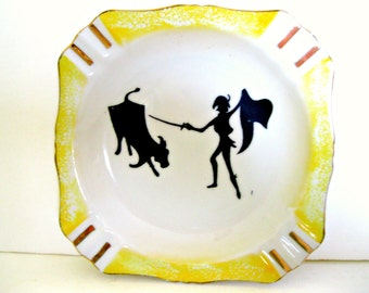 Vintage Ceramic Plate or Ashtray, White with Yellow Trim