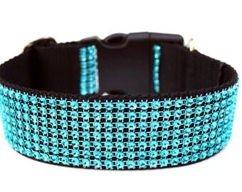 "Turquoise Dog Collar 1.5"" Rhinestone Dog Collar"