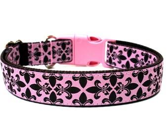 """Designer Dog Collar 1"""" Couture Pink and Brown Fleur de Lis Adjustable"""