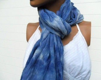 Hand Dyed Scarf in Colors of Blue Cotton Gauze