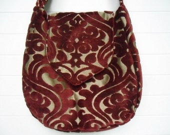 Gothic Victorian Bag Purse Deep Red Cut Velvet