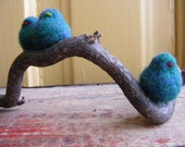 Three Needle Felted Birds in Blue Green