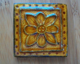Handmade Ceramic Tile -- 2x2 Accent tile -- Embroidered Clay Rosette -- MADE TO ORDER