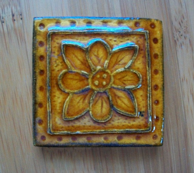 Handmade Ceramic Tile 2x2 Accent Tile Embroidered Clay
