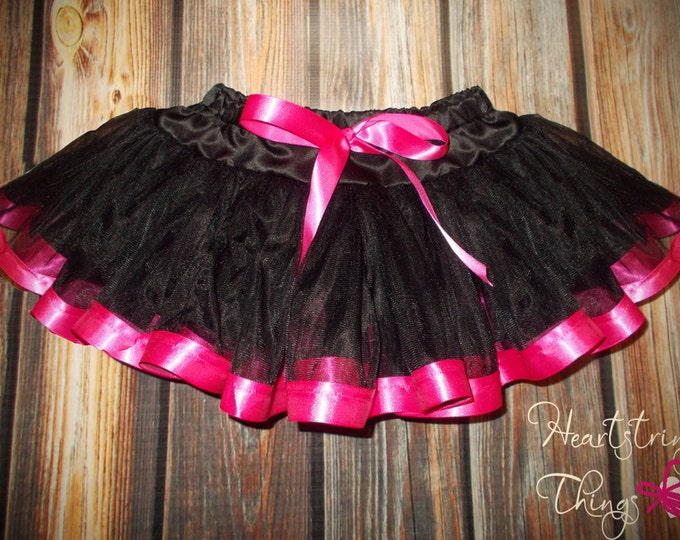 Chiffon Pixie Pettiskirt lined with Satin Ribbon adapted from Petti Skirt for Baby or Child Hot Pink and Black