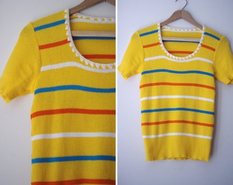 1970s adorable MARIGOLD striped embroidered PETAL collar S