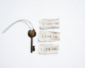 S A L E    Antique Skeleton Key, Key to My Heart, Mini, Monogrammed Heart, Wedding Day