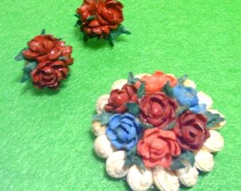 Seashell Floral Roses Brooch  and Screw Earrings - Vintage