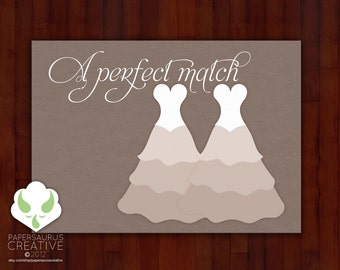 Greeting card: Your perfect match — lesbian marriage, LGBT wedding