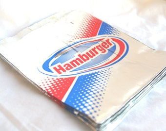 red and blue ReTRO Hamburger-Foil--25 CT---Birthday Parties--Sports theme--circus--Baseball--Cookout--25ct