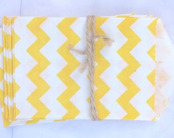 Tiny CHEVRON Bags--yellow--party favors--gifts---weddings--showers--20ct-