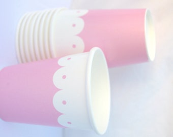 PaRTy CuPsPink Scallop-with  Free DIY printable label option--Birthday parties---10ct