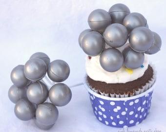 ReTRo Balloon Picks--3ct-silver--cupcake picks-retro-vintage style