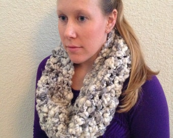 "Hand Crocheted Oversized Chunky Wool And Acrylic Sparkling Infinity Cowl Scarf ""Winter Wanderlust"""
