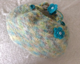"Hand Knitted And Felted Short Handle Purse ""Spring Meadows"""