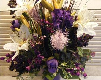 Purple Garden Vase, Entryway Foyer Arrangement, Lilies, Peonies and Grasses