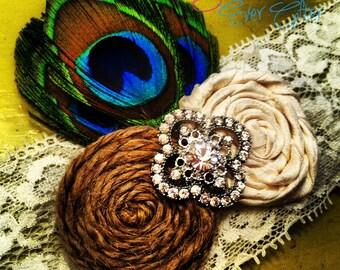 PEACOCK Wedding Garter / The GRAND PEACOCK / Vintage Inspired Wedding garter / Garter Set / bridal garter / toss garter / Something Blue